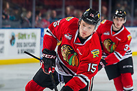 KELOWNA, BC - MARCH 02:  John Ludvig #15 of the Portland Winterhawks warms up against the Kelowna Rockets at Prospera Place on March 2, 2019 in Kelowna, Canada. (Photo by Marissa Baecker/Getty Images)