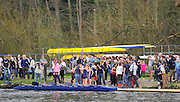 Henley. United Kingdom. Orsiris after winning the reserve boat race outside  Upper Thames RC. in the women's reserve boat race 2014 Henley Boat Race, Henley Reach, Annual Women's Boat Race.  River Thames; Sunday  - 30/03/2014  [Mandatory Credit;  Intersport Images],