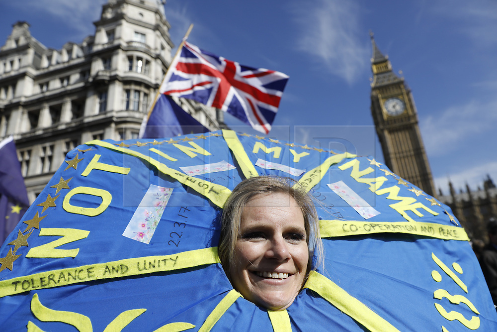 © Licensed to London News Pictures.25/03/2017.London, UK. Thousands of protestors take part in the Unite for Europe march in central London on 25 March 2017. Campaigners are demanding that the UK stays in Europe. Prime Minister Theresa May will invoke article 50 on Wednesday starting the expected two year process of exiting the EU. Photo credit: Tolga Akmen/LNP