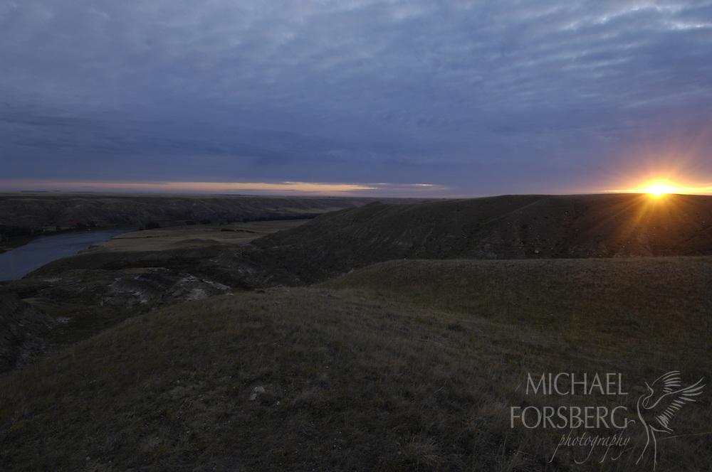 Northern Great Plains region, Saskatchewan-Alberta, Canada..Annie's place: South Saskatchewan River at first light.