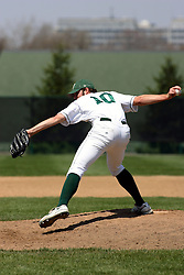 21 April 2007:  Relief pitcher Travis Myers delivers the ball with a low sidearm style pitch. Carthage College loses the first game of a double header by a score of 5-2 against the Illinois Wesleyan Titans.