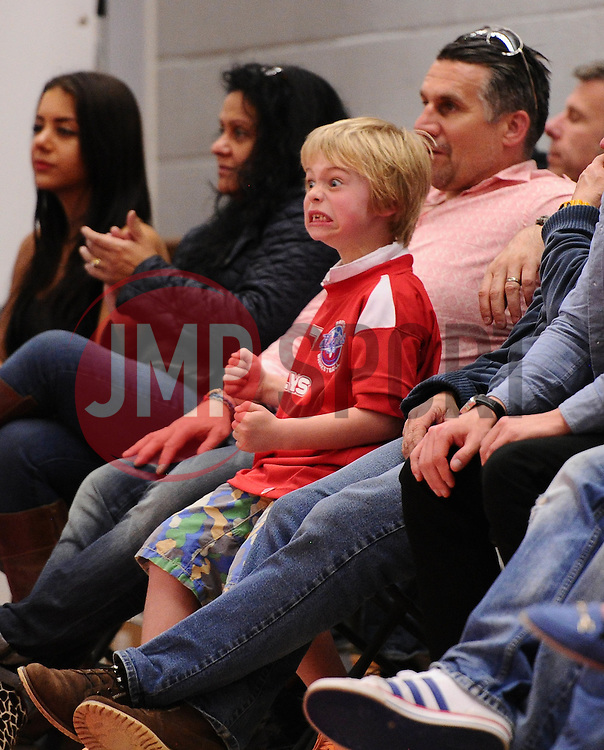 A young fan celebrates  - Photo mandatory by-line: Joe Meredith/JMP - Mobile: 07966 386802 - 11/04/2015 - SPORT - Basketball - Bristol - SGS Wise Campus - Bristol Flyers v Glasgow Rocks - British Basketball League