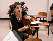 4. Kathryn Lockwood, the viola player for the Lark Quartet, works with a graduate string quartet during a .master class at Ohio University in Glidden Hall on Wednesday, October 10th, 2007.