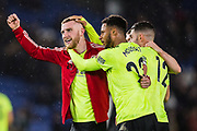 Oli McBurnie (Sheffield United) thanking the Sheffield United FC supporters with Lys Mousset (Sheffield United) following the Premier League match between Brighton and Hove Albion and Sheffield United at the American Express Community Stadium, Brighton and Hove, England on 21 December 2019.