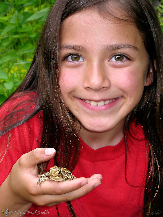 AJ (age 7) and her new friend, a common toad  (Bufo bufo).