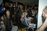 ELEANOR LINDSAY FYNN AND AUDIENCE , Screening of Ignored and Rejected.-  Eleanor Lindsay-Fynn. Top Floor, Hoxton Sq. London. 25 October 2011.<br />  , -DO NOT ARCHIVE-© Copyright Photograph by Dafydd Jones. 248 Clapham Rd. London SW9 0PZ. Tel 0207 820 0771. www.dafjones.com.