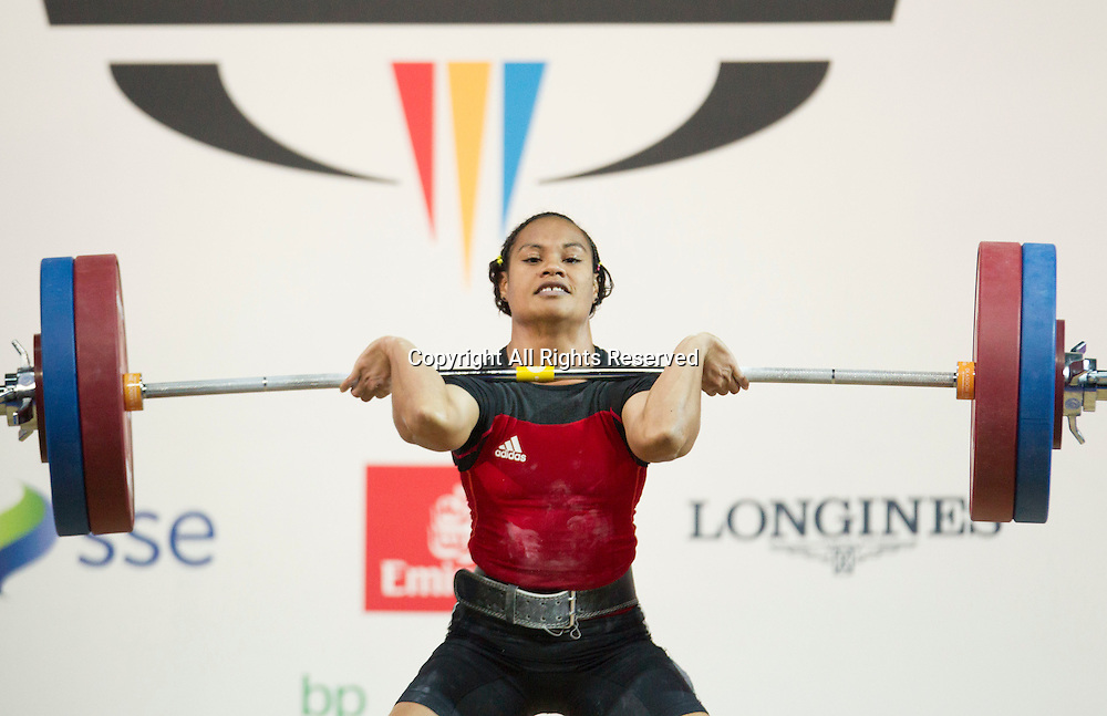 25.07.2014. Glasgow, Scotland. Glasgow Commonwealth Games. Women's 53kg Final. Kika Toua of PNG who came 2nd during a lift