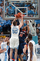 07 February 2009: Virginia Cavaliers forward Mike Scott (32) defends North Carolina forward Tyler Hansbrough (50) during a 76-61 loss to the North Carolina Tar Heels at the Dean Smith Center in Chapel Hill, NC.