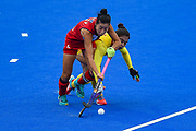 Youngran Kim captain of Korea (4) during the Vitality Hockey Women's World Cup 2018 Pool A match between Korea and China at the Lee Valley Hockey and Tennis Centre, QE Olympic Park, United Kingdom on 29 July 2018. Picture by Martin Cole.