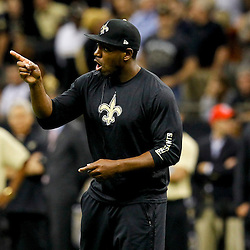 September 23, 2012; New Orleans, LA, USA; New Orleans Saints linebacker Jonathan Vilma against the Kansas City Chiefs during the second half of a game at the Mercedes-Benz Superdome. The Chiefs defeated the Saints 27-24 in overtime. Mandatory Credit: Derick E. Hingle-US PRESSWIRE