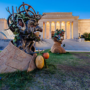 """The Four Seasons"" sculptures by artist Philip Haas, on display at Kansas City's Nelson Atkins Museum of Art in August 2015."