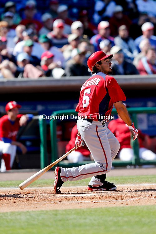 Mar 6, 2013; Clearwater, FL, USA; Washington Nationals short stop Anthony Rendon (6) against the Philadelphia Phillies during a spring training game at Bright House Field. Mandatory Credit: Derick E. Hingle-USA TODAY Sports