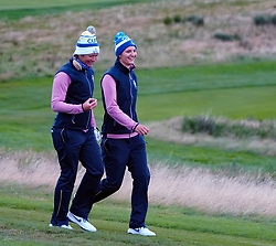 Auchterarder, Scotland, UK. 14 September 2019. Saturday afternoon Fourballs matches  at 2019 Solheim Cup on Centenary Course at Gleneagles. Pictured; Suzann Pettersen and Anne Van Dam of team Europe share a joke. Iain Masterton/Alamy Live News