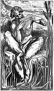Pan playing his pipes. Illustration by Frederic, Lord Leighton (1830-1896) for Elizabeth Barrett Browning's poem 'A Musical Instrument' What is he doing, thre great god Pan/Down in the reeds by the river?. Wood engraving, London, 1862.