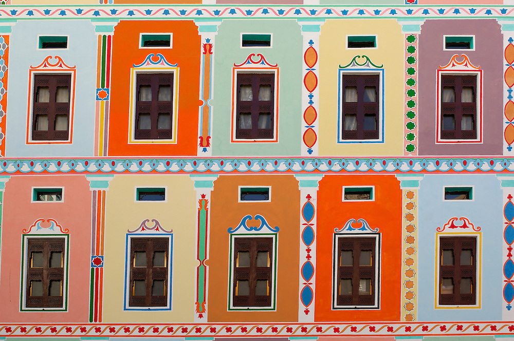 Colorful Khailah Palace, Khailah, Wadi Hadramaut, South Yemen, Yemen, Arabian Peninsula