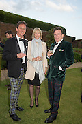 TORQUHIL IAN CAMPBELL, DUKE OF ARGYLL; ZARA GORDON LENNOX; ANGUS GORDON LENNOXPerdurity: A Moving Banquet of Time. Royal Salute curates a timeless evening at Hampton Court Palace with Marcos Lutyens, 2 June 2015.