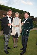 TORQUHIL IAN CAMPBELL, DUKE OF ARGYLL; ZARA GORDON LENNOX; ANGUS GORDON LENNOXPerdurity: A Moving Banquet of Time. Royal Salute curates a timeless evening at Hampton Court Palace with Marcos Lutyens, 2 June 2015.