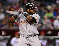 Sep. 14, 2012; Phoenix, AZ, USA; San Francisco Giants infielder Pablo Sandoval (48) reacts during the game against the Arizona Diamondbacks at Chase Field.  Mandatory Credit: Jennifer Stewart-US PRESSWIRE