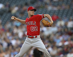 July 5, 2017 - Minneapolis, MN, USA - Los Angeles Angels starting pitcher Parker Bridwell throws in the first inning against the Minnesota Twins on Wednesday, July 5, 2017, at Target Field in Minneapolis. (Credit Image: © Jeff Wheeler/TNS via ZUMA Wire)