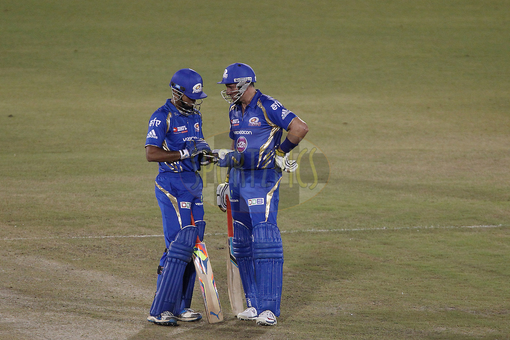 Aditya TARE of the Mumbai Indians and Mike HUSSEY of the Mumbai Indians during the qualifier 2 match of the Oppo Champions League Twenty20 between the Mumbai Indians and the Lahore Lions held at the Chhattisgarh International Cricket Stadium, Raipur, India on the 13th September 2014<br /> <br /> Photo by:  Ron Gaunt / Sportzpics/ CLT20<br /> <br /> <br /> Image use is subject to the terms and conditions as laid out by the BCCI/ CLT20.  The terms and conditions can be downloaded here:<br /> <br /> <br /> http://sportzpics.photoshelter.com/gallery/CLT20-Image-Terms-and-Conditions-2014/G0000IfNJn535VPU/C0000QhhKadWcjYs