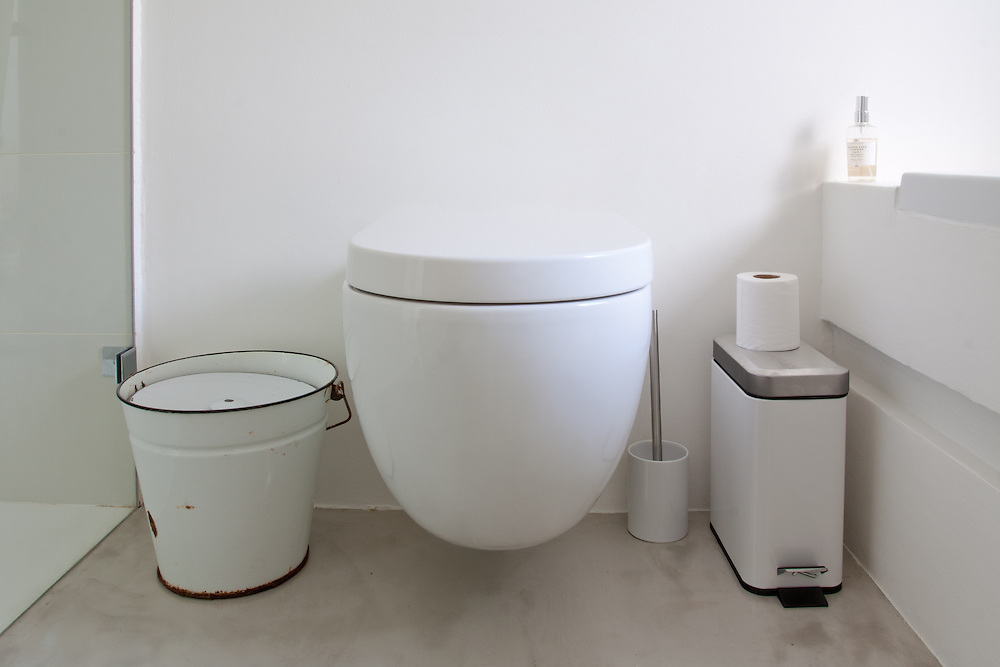 Residential toilet and bin close-up<br />