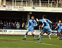 Photo: Mark Stephenson/Richard Lane Photography. <br /> Hereford United v Wycombe Wanderers. Coca-Cola League Two. 15/03/2008. Wycombe's Russell Martin ( no 4 ) scores a own goal
