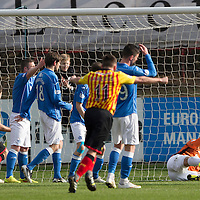 Partick Thistle v St Johnstone.....14.03.15<br /> Alan Mannus can't stop Conrad Balatoni's shot from squuezing in at the near post<br /> Picture by Graeme Hart.<br /> Copyright Perthshire Picture Agency<br /> Tel: 01738 623350  Mobile: 07990 594431