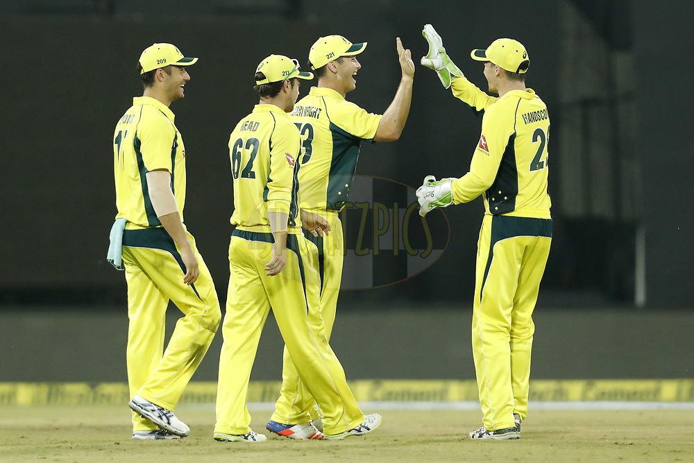 Australia Players celebrate the wicket of Rohit Sharma of India during the 3rd One Day International between India and Australia held at the Holkar Stadium in Indore on the 24th  September 2017<br /> <br /> Photo by Arjun Singh / BCCI / SPORTZPICS