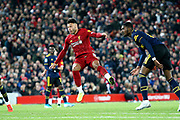 Liverpool midfielder Alex Oxlade-Chamberlain (15) scores from long range 3-4  during the EFL Cup match between Liverpool and Arsenal at Anfield, Liverpool, England on 30 October 2019.