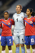 16 October 2014: Dinnia Diaz (CRC) (1) with Diana Saenz (CRC) (5) and Shirley Cruz (CRC) (10). The Mexico Women's National Team played the Costa Rica Women's National Team at Sporting Park in Kansas City, Kansas in a 2014 CONCACAF Women's Championship Group B game, which serves as a qualifying tournament for the 2015 FIFA Women's World Cup in Canada. Costa Rica won the game 1-0.