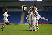 Duncan Watmore (Sunderland), England U21 is congratulated after his goal and celebrates during the UEFA European Championship Under 21 2017 Qualifier match between England and Switzerland at the American Express Community Stadium, Brighton and Hove, England on 16 November 2015. Photo by Phil Duncan.