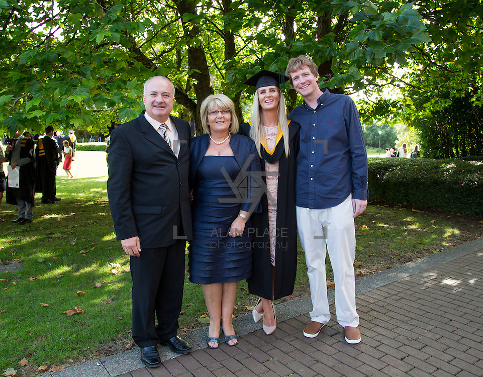 26.08.2016        <br /> University of Limerick Interfaculty Conferring Ceremony.<br /> <br /> Attending the conferring ceremony was BSc Sports and Exercise graduate, Jessie Lyons, Corbally, Limerick pictured with, Geared and Delores Hehir and Cian Frawley. Picture: Alan Place.
