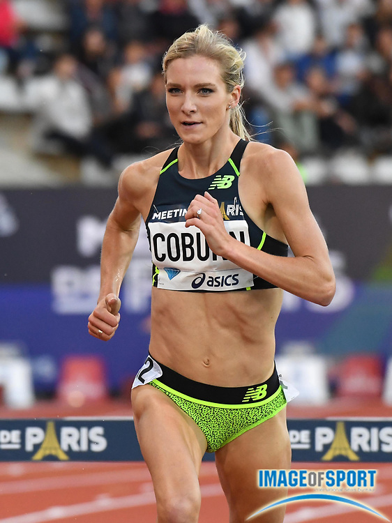 Jul 1, 2017; Paris, France; Emma Coburn (USA) places fifth in the women's steeplechase in 9:11.08 during the Meeting de Paris in an IAAF Diamond League meet at Stade Charlety.