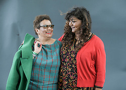 Jackie Kay appears with Tanika Gupta at the 2019 Edinburgh International Book Festival.<br /> <br /> Three years into her stint as Scots Makar, Jackie Kay's exuberance and insight have helped her bring poetry to the people. Today, she reads a selection of new poems inspired by her travels around Scotland. Kay also discusses the play of her much-loved memoir Red Dust Road with James Tait Black Prize-winner Tanika Gupta, who has adapted it for the National Theatre of Scotland – and all that's happened since she wrote that revelatory book. Part of Edinburgh International Festival 2019.<br /> <br /> © Dave Johnston / EEm