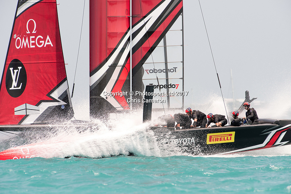 The Great Sound, Bermuda. 8th June 2017. Emirates Team New Zealand overtake and finally beat and Land Rover BAR (GBR) in their 5th match of the Louis Vuitton America's Cup Challenger Playoff Semi-Finals.<br /> Copyright photo: Chris Cameron / www.photosport.nz