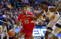Jan 2, 2019; Morgantown, WV, USA; Texas Tech Red Raiders guard Jarrett Culver (23) dribbles the ball during the first half against the West Virginia Mountaineers at WVU Coliseum. Mandatory Credit: Ben Queen-USA TODAY Sports
