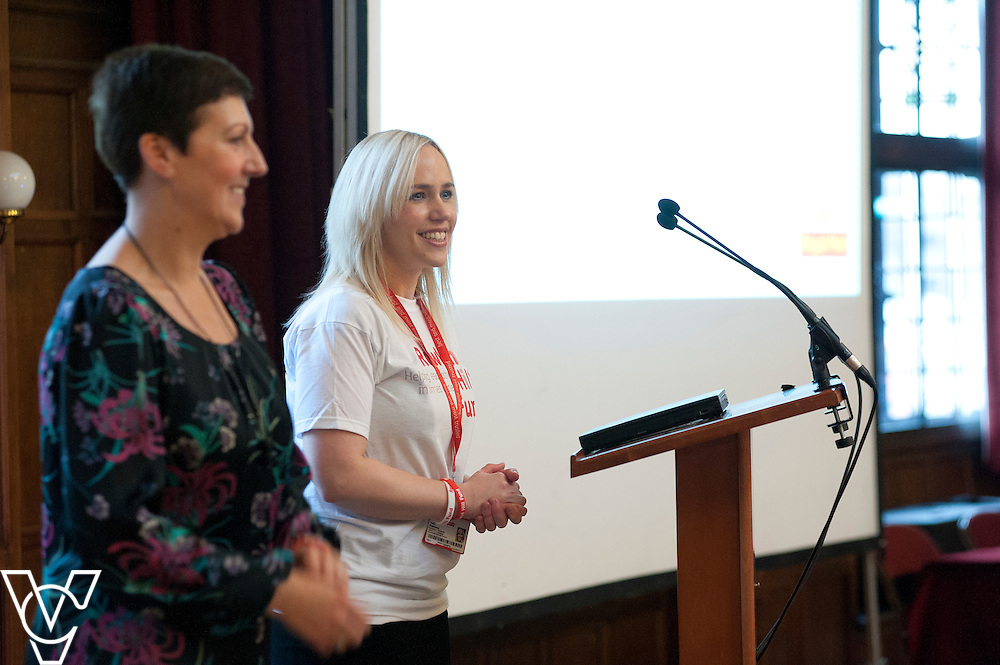 Shan Lawrence, left, and Tamsin Stephenson speaking at the event<br /> <br /> Rowland Hill Fund - one of the best kept secrets in the Royal Mail - launch event for new ambassadors, held at The Winding Wheel Ballroom, Chesterfield.<br /> <br /> Date: January 13, 2015