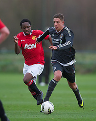 MANCHESTER, ENGLAND - Friday, November 25, 2011: Liverpool's Kristoffer Peterson in action against Manchester United during the FA Premier League Academy match at the Carrington Training Ground. (Pic by David Rawcliffe/Propaganda)