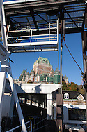 Canada. Quebec. the vieux Quebec, old city, view from Saint Laurent river on the ferry boat traversier.   / la vielle ville vue depuis le  traversier ferry sur le Fleuve Saint Laurant