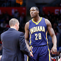 02 December 2015: Indiana Pacers center Ian Mahinmi (28) is congratulated by Indiana Pacers head coach Frank Vogel during the Indiana Pacers 103-91 victory over the Los Angeles Clippers, at the Staples Center, Los Angeles, California, USA.