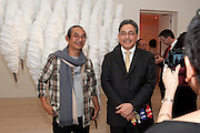 Haris Purnomo; Yuri O Thamrin; Indonesian Ambassador, Indonesian Eye Contemporary Art Exhibition Reception, Saatchi Gallery. London. 9 September 2011. <br /> <br />  , -DO NOT ARCHIVE-© Copyright Photograph by Dafydd Jones. 248 Clapham Rd. London SW9 0PZ. Tel 0207 820 0771. www.dafjones.com.