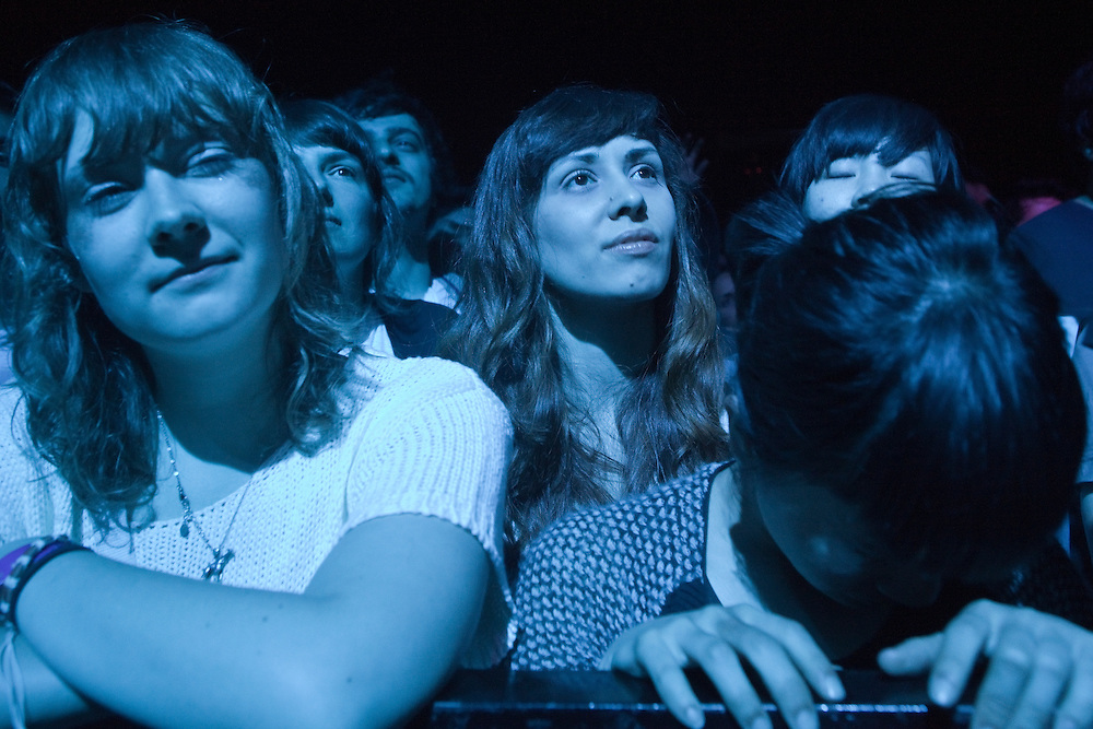 Fans enjoy Animal Collective's live show  at the San Miguel Primavera Sound music festival in Barcelona, on May 28th, 2011.