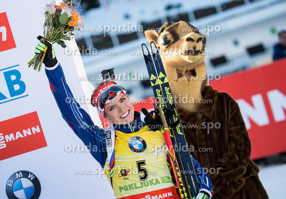 Gabriela Soukalova (CZE) at medal ceremony after the Women 10 km Pursuit at day 3 of IBU Biathlon World Cup 2015/16 Pokljuka, on December 19, 2015 in Rudno polje, Pokljuka, Slovenia. Photo by Vid Ponikvar / Sportida