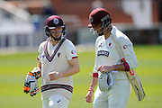 Somerset's Chris Rogers and Somerset's Marcus Trescothick walk back to the pavilion for lunch during the Specsavers County Champ Div 1 match between Somerset County Cricket Club and Lancashire County Cricket Club at the County Ground, Taunton, United Kingdom on 4 May 2016. Photo by Graham Hunt.