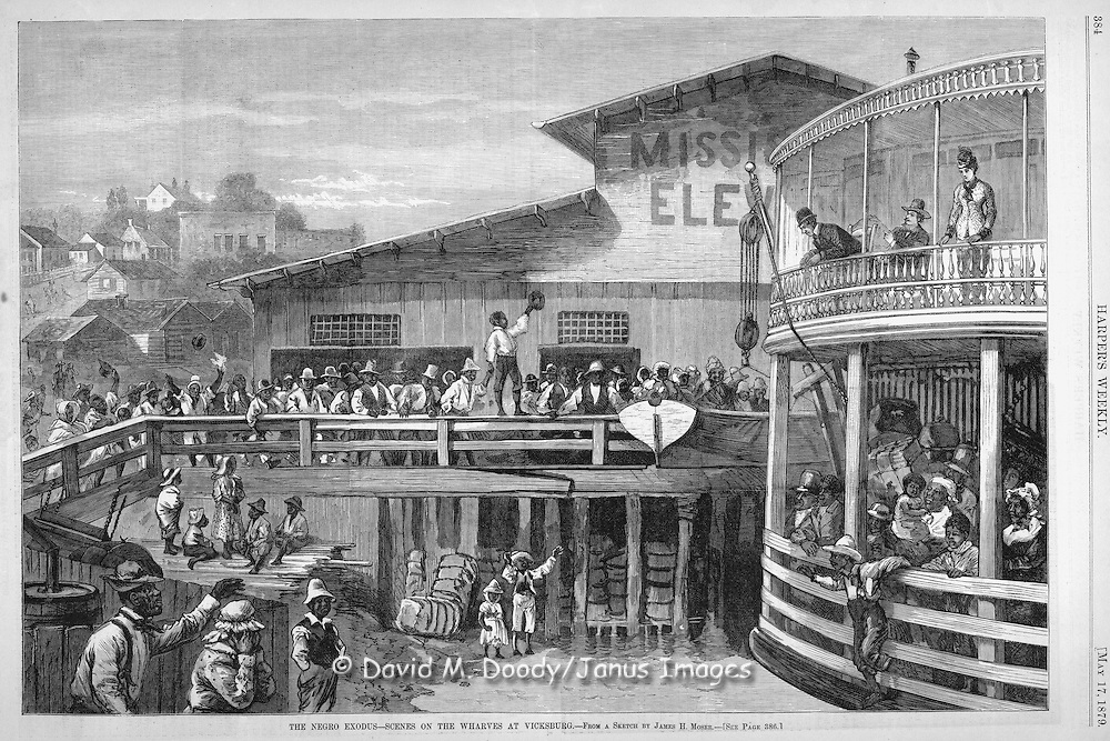 Negro (black, African-American) exodus  from the South at Vicksburg  1879   Harper's Weekly May 17, 1879
