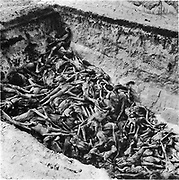 The bodies of the dead lie awaiting burial in a mass grave at the camp at Bergen-Belsen, the Nazi concentration camp in northwest Germany.