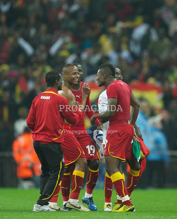 LONDON, ENGLAND - Tuesday, March 29, 2011: Ghana's players dance on the pitch after Asamoah Gyan scores a dramatic late injury time equalising goal against England during the international friendly match at Wembley Stadium. (Photo by David Rawcliffe/Propaganda)