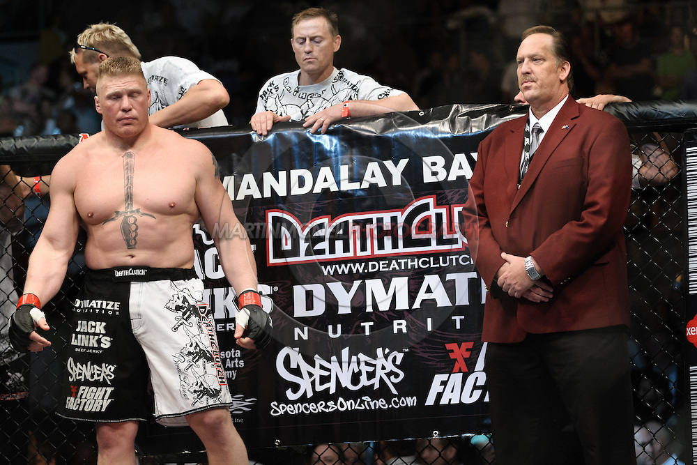 "LAS VEGAS, NEVADA. JULY 11, 2009: Brock Lesnar stands ready in his corner during ""UFC 100: Making History"" inside the Mandalay Bay Events Center in Las Vegas, Nevada."