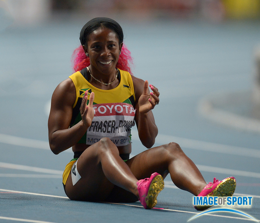 Aug 16, 2013; Moscow, RUSSIA; Shelly Ann-Fraser-Pryce (JAM) celebrates after winning the womens 200m in 22.17 in the 14th IAAF World Championships in Athletics at Luzhniki Stadium.