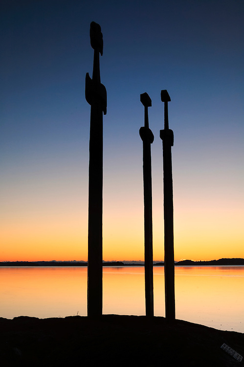 Sunset at the Sword in Stone monument in Møllebukta, Rogaland, Norway.